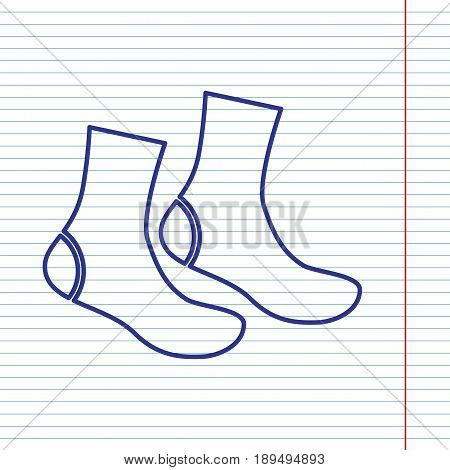Socks sign. Vector. Navy line icon on notebook paper as background with red line for field.