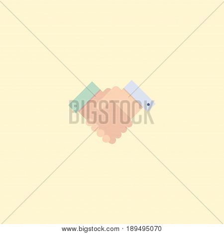 Flat Deal Element. Vector Illustration Of Flat Handshake Isolated On Clean Background. Can Be Used As Deal, Handshake And Partnership Symbols.