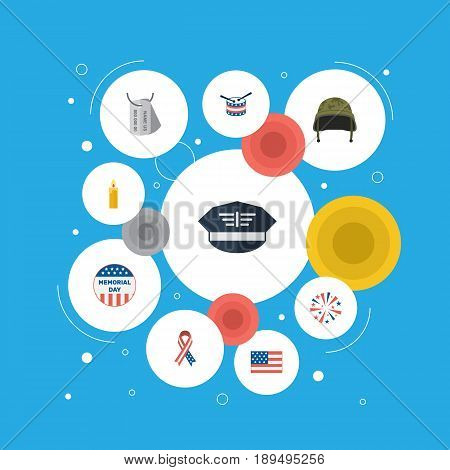 Flat Hat, Usa Badge, Soldier Helmet And Other Vector Elements. Set Of History Flat Symbols Also Includes Flag, Headgear, Identity Objects.