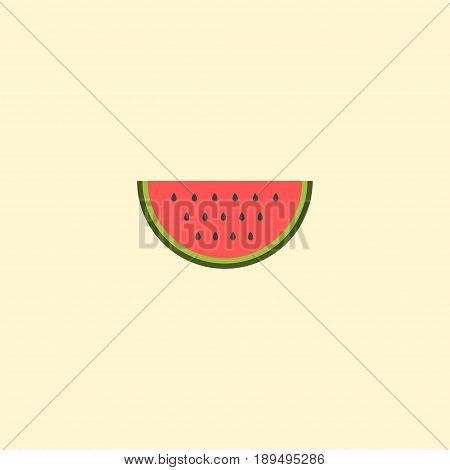 Flat Watermelon Element. Vector Illustration Of Flat Melon Slice Isolated On Clean Background. Can Be Used As Watermelon, Melon And Slice Symbols.