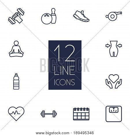 Set Of 12 Bodybuilding Outline Icons Set.Collection Of Whistle, Calendar, Trekking Shoes And Other Elements.