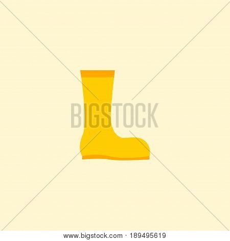 Flat Waterproof Shoes Element. Vector Illustration Of Flat Rubber Boots Isolated On Clean Background. Can Be Used As Rubber, Boots And Gumboots Symbols.
