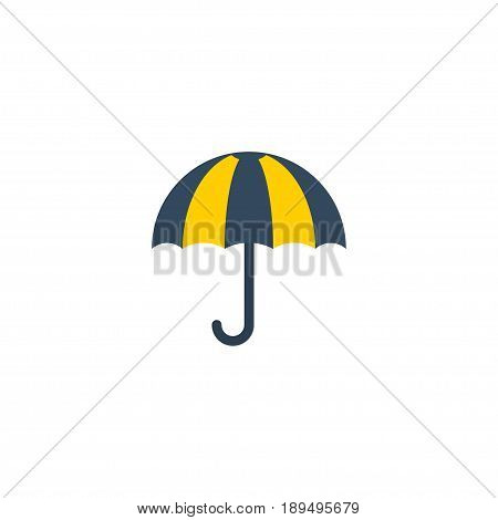 Flat Umbrella Element. Vector Illustration Of Flat Parasol  Isolated On Clean Background. Can Be Used As Parasol, Umbrella And Sunny Symbols.