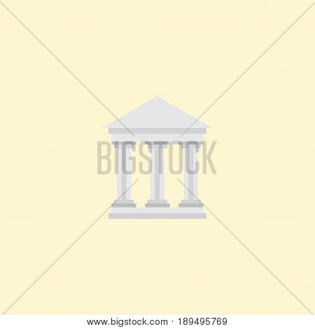 Flat Courthouse Element. Vector Illustration Of Flat Bank Isolated On Clean Background. Can Be Used As Bank, Courthouse And Building Symbols.