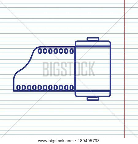 Old photo camera casset sign. Vector. Navy line icon on notebook paper as background with red line for field.