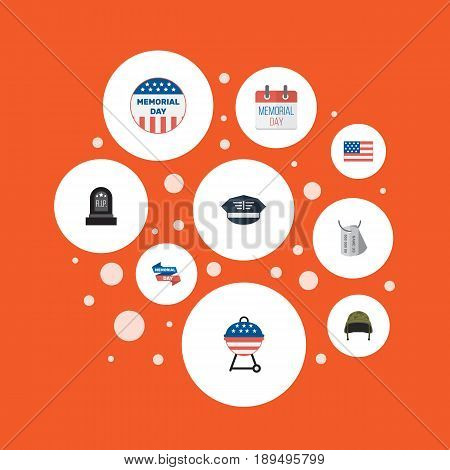 Flat Usa Badge, History, Hat And Other Vector Elements. Set Of History Flat Symbols Also Includes Tomb, Day, Calendar Objects.