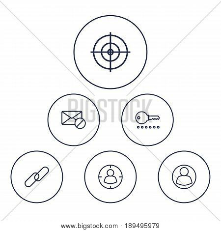 Set Of 6 Optimization Outline Icons Set.Collection Of Block, Targeting, Keywords And Other Elements.