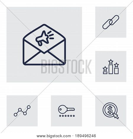 Set Of 6 Optimization Outline Icons Set.Collection Of Advertising, Url, Running Title And Other Elements.