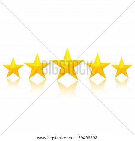 Fivegolden stars with reflection. Excellent quality rating. Vector, isolated eps10