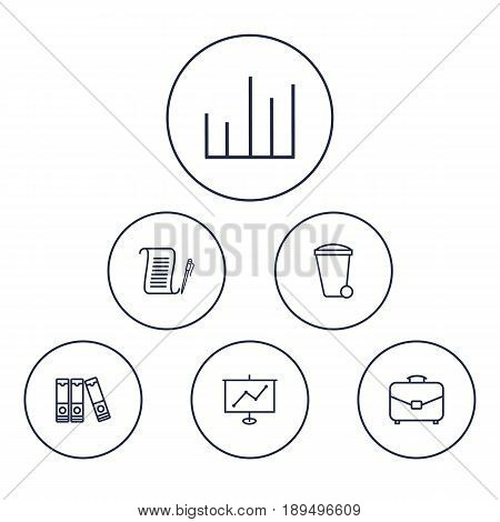 Set Of 6 Bureau Outline Icons Set.Collection Of Agreement, Document Case, Portfolio And Other Elements.