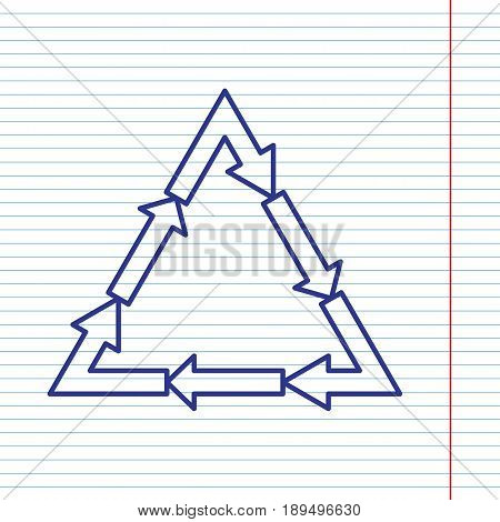 Plastic recycling symbol PVC 3 , Plastic recycling code PVC 3. Vector. Navy line icon on notebook paper as background with red line for field.