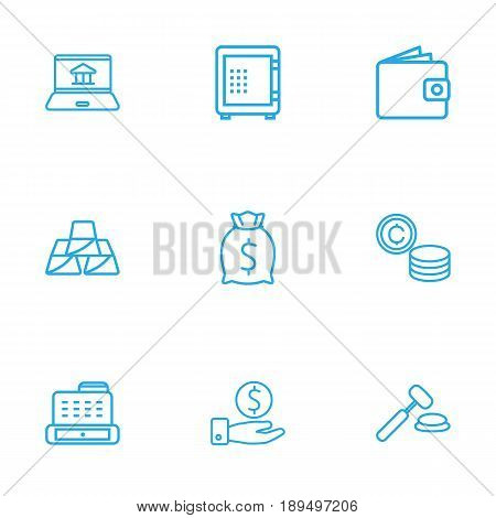 Set Of 9 Finance Outline Icons Set.Collection Of Cash Register, Moneybag, Auction And Other Elements.