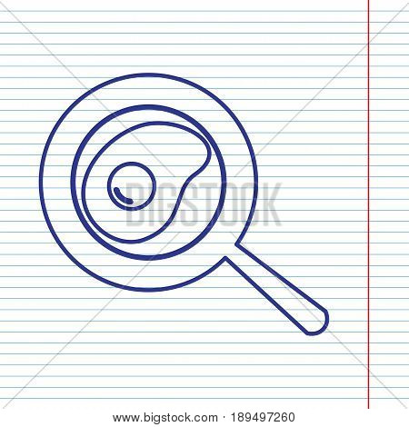 Omelet at pan icon. Vector. Navy line icon on notebook paper as background with red line for field.