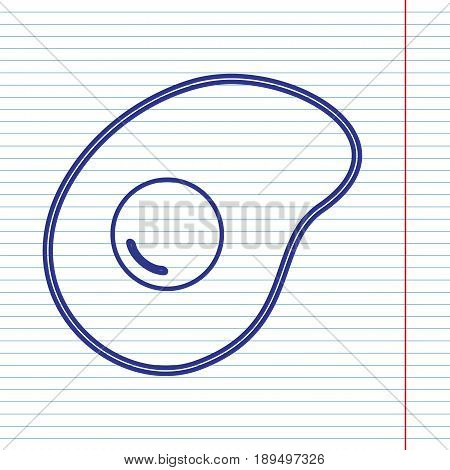 Omelet sign. Flat designed style icon. Vector. Navy line icon on notebook paper as background with red line for field.