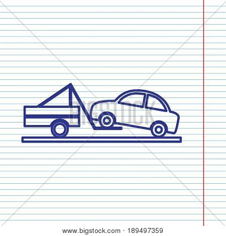Tow truck sign. Vector. Navy line icon on notebook paper as background with red line for field.