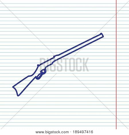 Hunting rifle icon vector illustration. Silhouette gun. Vector. Navy line icon on notebook paper as background with red line for field.