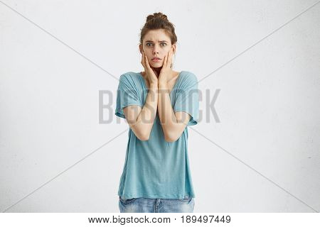 Human Emotions, Feelings, Reaction And Attitude. Terrified Young Woman Having Anxious Stressed Out L