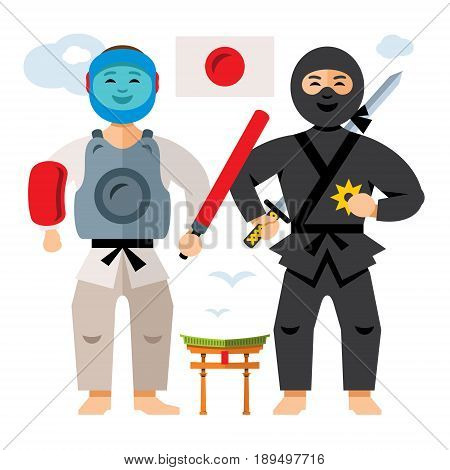 Ninja fighter and Chanbara Athlete. Isolated on a White Background