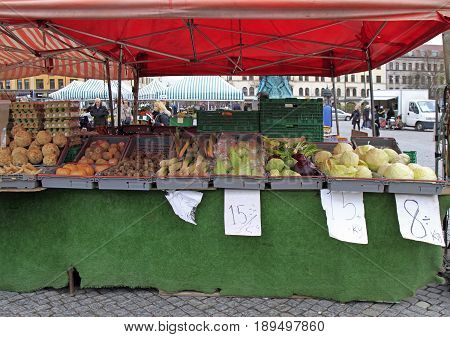 Stall With Vegetables On Street Market In Malmo, Sweden