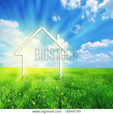 Nuova casa immaginazione visione sul prato verde. Immagine concettuale