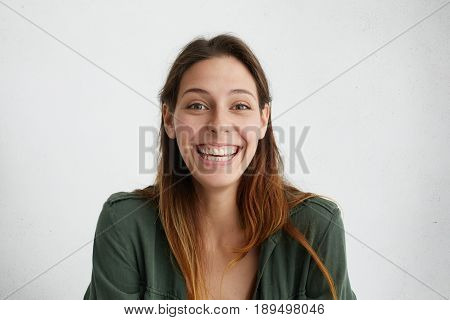 Cheerful Good-looking Caucasian Female Student Looking Sincerely Having Pleasant Smile Being Happy T