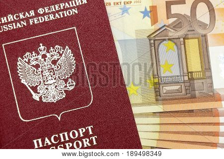 Passport of the Russian Federation and money. Horizontal photo.