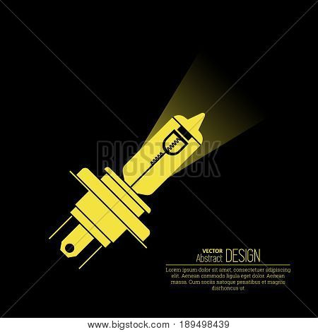 Quartz-halogen automobile bulb. Icon of the lighting instrument. A bulb for an automobile headlight. Design element. A vector illustration in flat style on a black background.