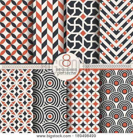 Vector classical seamless patterns. Set of eight abstract textured backgrounds. Modern stylish textures. Regularly repeating geometrical ornaments with different shapes. Wrapping paper.