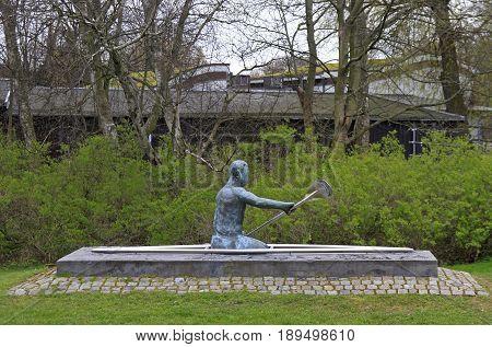 Scuplture Of Canoeist In Park Of Malmo, Sweden