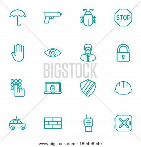 Set Of 16 Security Outline Icons Set.Collection Of Safe, Virus, Keypad And Other Elements.