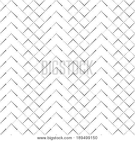 Vector seamless pattern. Modern stylish texture in the form of zigzags waves and rhombuses. Regularly repeating geometric small dotted shapes. Vector element of graphical design