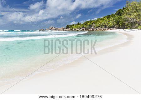 White Beach And Emerald Water, Seychelles