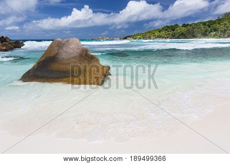 Granite And Beach, La Digue, Seychelles