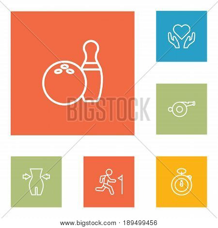 Set Of 6 Bodybuilding Outline Icons Set.Collection Of Bowling, Training, Whistle And Other Elements.