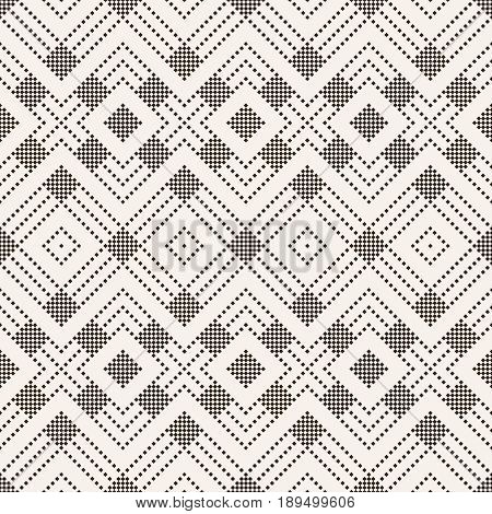 Vector seamless pattern. Infinitely repeating stylish elegant texture consisting of small rhombuses which form rhombus tiles. Modern geometrical textured background.
