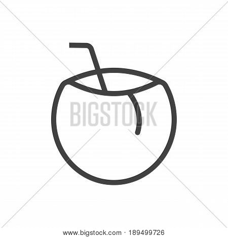 Isolted Cocos Outline Symbol On Clean Background. Vector Coconut Element In Trendy Style.