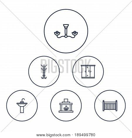 Set Of 6 Set Outline Icons Set.Collection Of Chandelier, Crib , Fireplace Elements.