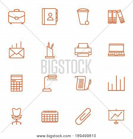 Set Of 16 Bureau Outline Icons Set.Collection Of Printing Machine, Agreement, Document Case And Other Elements.