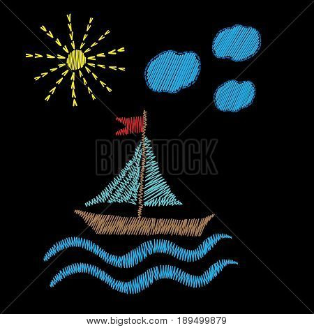 Boat on wave with sun embroidery stitches imitation isolated. Design colorful element for logo label emblem sign poster t-shirt print. Vector embroidery illustration.