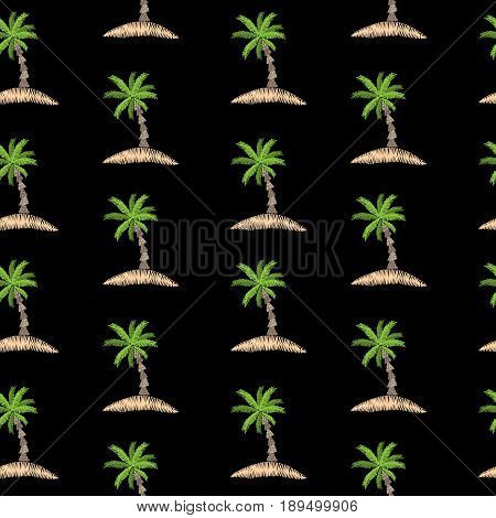 Seamless pattern with embroidery stitches imitation little palm tree. Exotic palm tree embroidery pattern vector background for printing on fabric paper for scrapbook gift wrap.