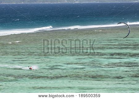 Kitesurfer In La Digue, Seychelles