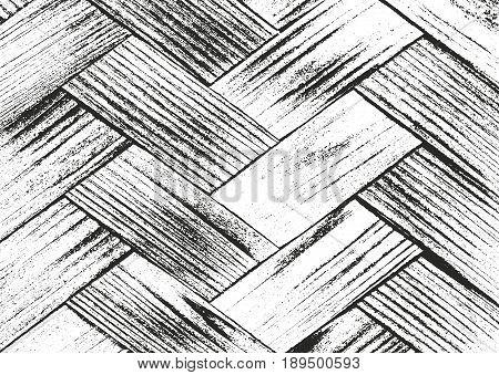 Distressed overlay wooden parquet texture grunge vector background.