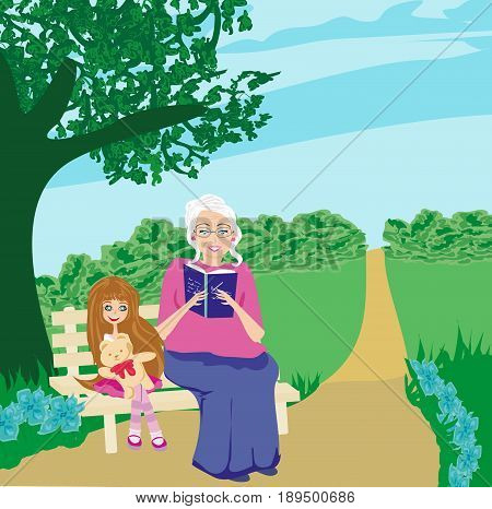 Grandmother and granddaughter in the garden  , vector illustration