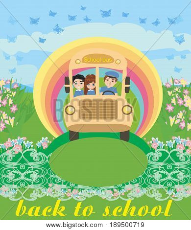 School bus with happy children , vector illustration