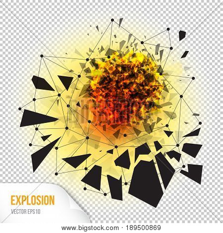 Vector illustration of abstract explosion with sharp debris fireball and scattering pieces of black triangle isolated on transparent background