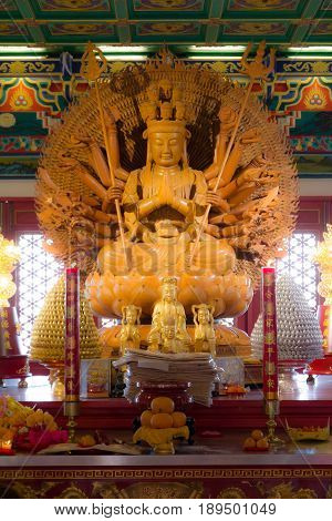 Guan Im thousand hand  make from wood in chinese temple