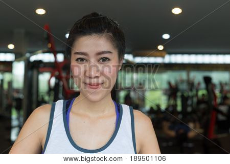 Portrait Asian Woman Happy Smile In Fitness Gym Exercise Sport Club Center