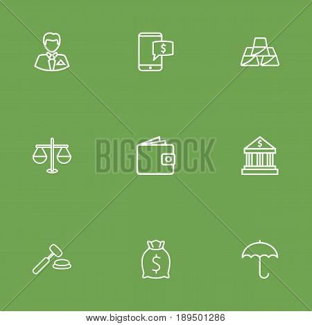 Set Of 9 Finance Outline Icons Set.Collection Of Justice, Moneybag, Auction And Other Elements.