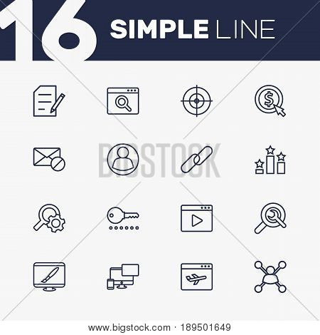 Set Of 16 Optimization Outline Icons Set.Collection Of Block, Url, Style And Other Elements.