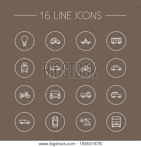 Set Of 16 Shipping Outline Icons Set.Collection Of Tram, Lorry, Motorcycle And Other Elements.